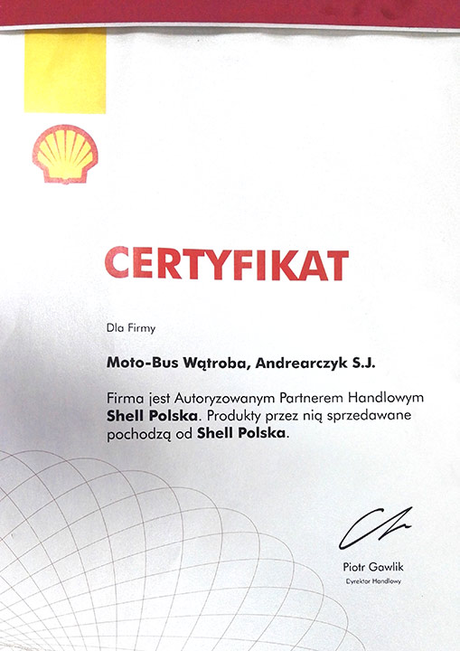 MOTOBUS - Certyfikat Shell